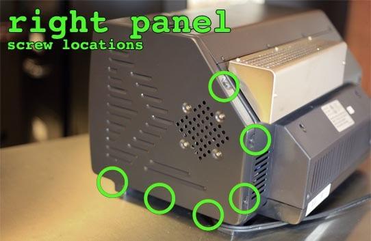 Right panel screw locations