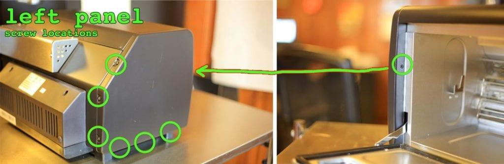 Behmor left panel screw locations