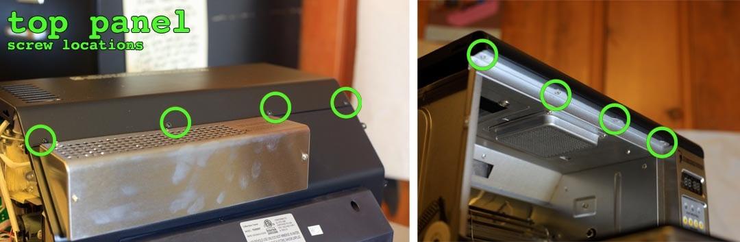 Top panel screw locations