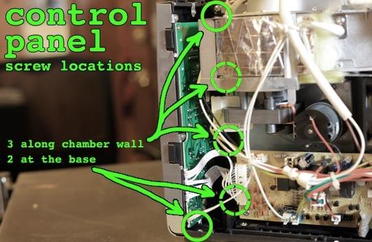 Control panel screw locations