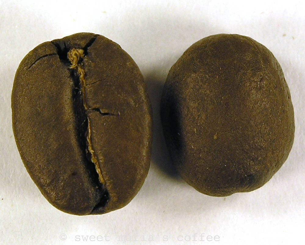 Second Crack - 454 degrees F - Coffee bean macro image during roasting