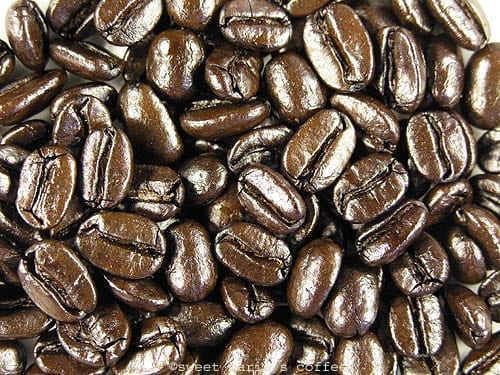 Carbonized, Fire Danger - 497 degrees F - Coffee bean macro image during roasting