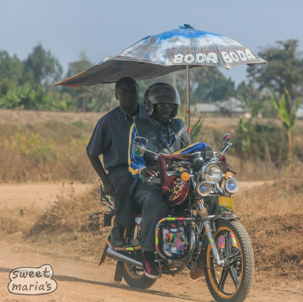 Tanzania style, shade protection on a moto-taxi.