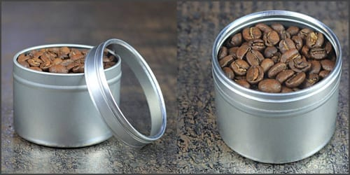 Small roasted coffee tin to keep home roasted coffee 55 gram size