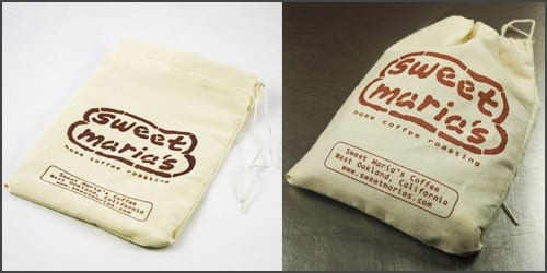 Sweet Maria's brand cotton coffee bags for green coffee storage decoration