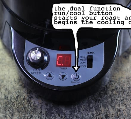 Freshroast SR500 home coffee roaster Control Button