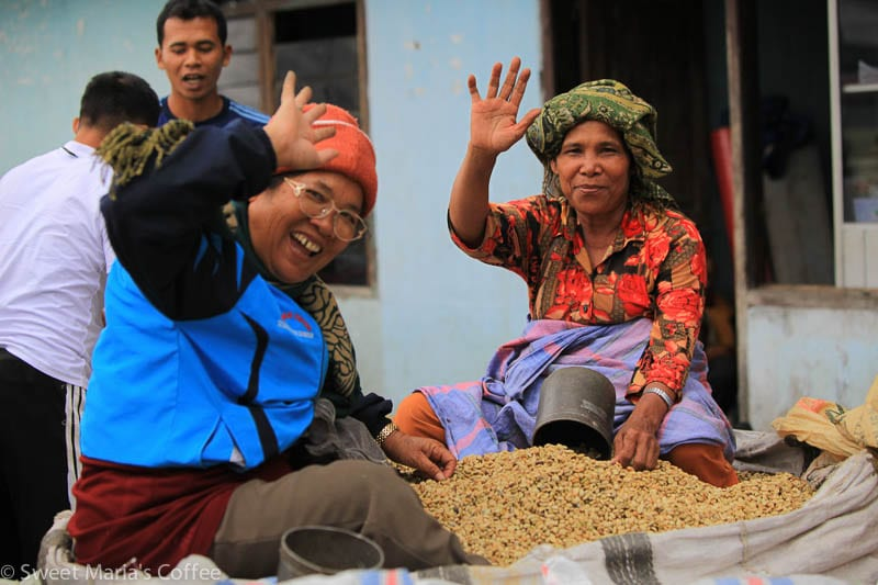 """Coffee collectors at the Siborongborong market sit atop their wet parchment coffee. Note the """"litera"""" cans."""