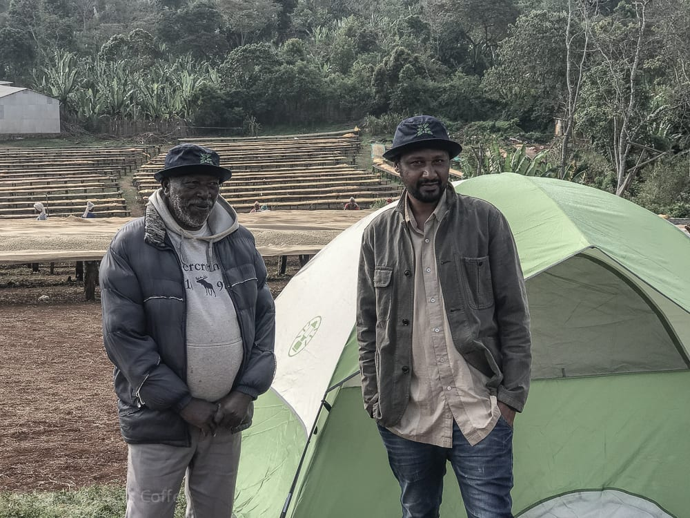I don't remember who these guys were, but they got some CoffeeShrub Bucket  hats off with me. Good job guys. This was also the station where some of us tented it. I took a bed in a oromo hut tho, but we were all comfy, and what a vew in the morning!