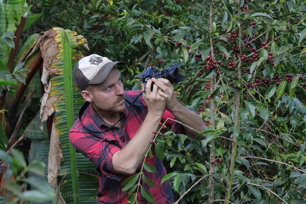 The mastermind of our route on this trip was Daniel Shewmaker, his macro photo of coffee cherry. He also sports the dirtiest Sweet Maria's hat on the planet. True trucker style. Some think Daniel is a bit intense. But he gets his photo every time. (And PS this photo is also a bit of a joke.)