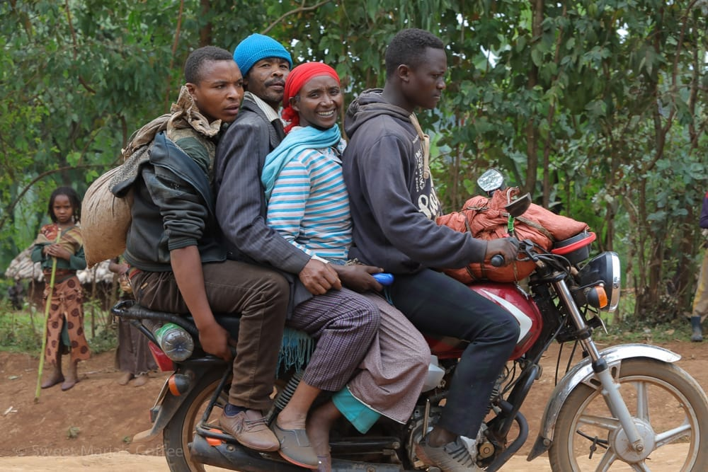 It's pretty uncommon to see a single person on a motorcycle from Ethiopia. And it's not uncommon to see four or five sharing a bike. I'm really not sure how the guy on the end keeps from falling off. Especially considering the bumps of the road. As a motorcyclist, I can't imagine sitting for people on any of my bikes. I am also sure that if any of these people visited the United States, they would be shocked to see only one person on a motorcycle. What a total waste!