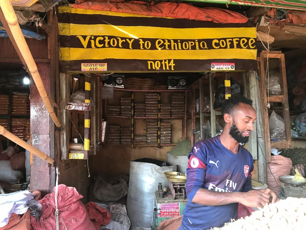 Back in Addis Ababa, we visited Mercato. I haven't been to the main market in several years but it was nice to see that it was the same chaotic, bustling, wonderful mess. I too thought this merchants was simply excited about coffee. I forgot that one of the local Addis Ababa teams is called coffee. He's basically just a huge soccer fan.