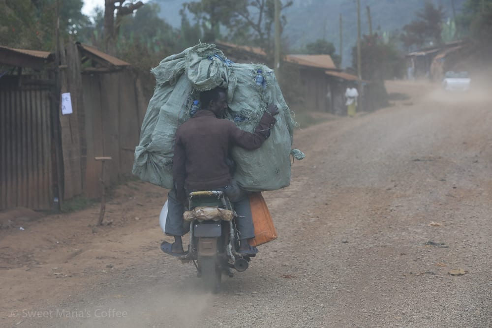 The motorcycle is much more then it two person convenience in Ethiopia. It's a cargo mover, two wheel truck, taxi, a complete livelihood. This was one of the bulkiest loads I saw on this particular day. It's just amazing what people do, and the will they have to do it.