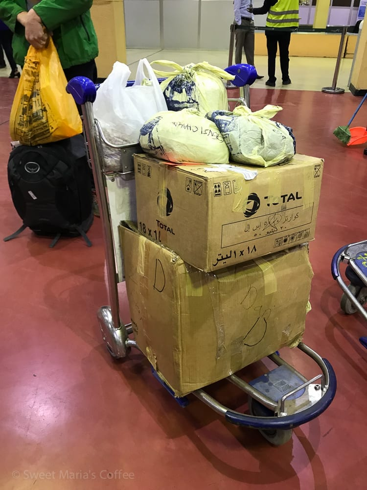 Traveling through the west we were collecting parchment coffee samples all along the way. I don't know how we convinced the airline to fly with all the samples. This cart represents about two thirds of the total! In any case it left us with some very busy days of tasting in Addis Ababa before winding up the trip and heading home. Whew.