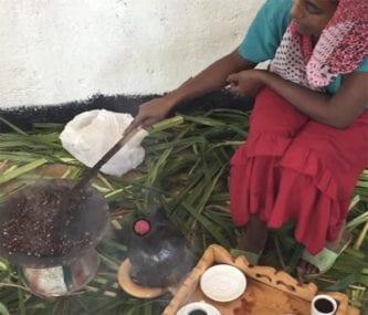Ethiopian traditional coffee roasting in Metaj