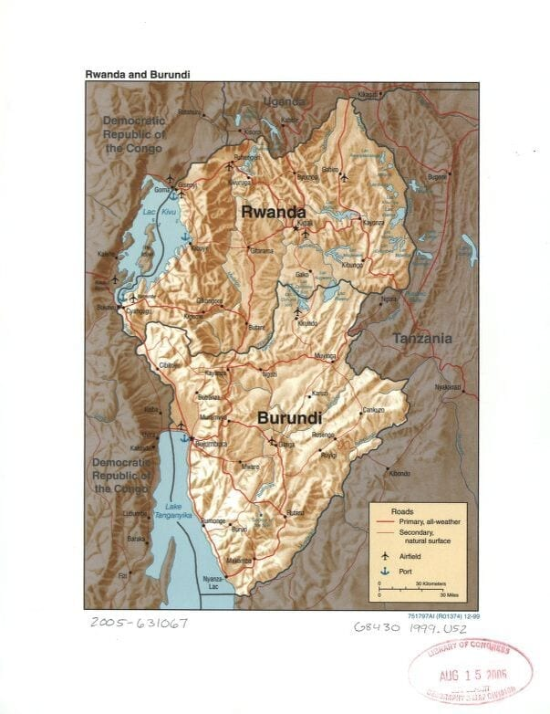Rwanda and Burundi, with neighboring countries. 1999 Map