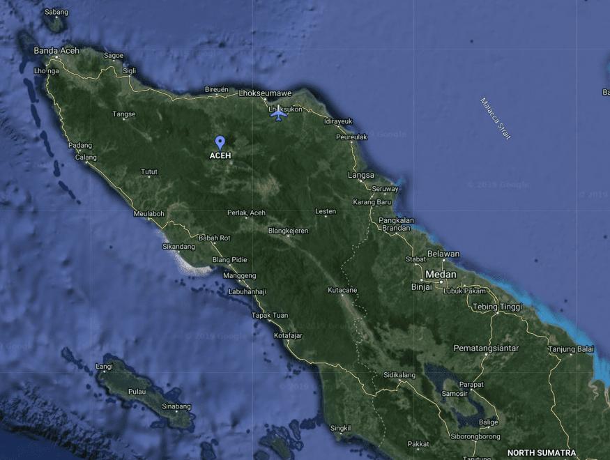 Aceh Sumatra, Map via Google