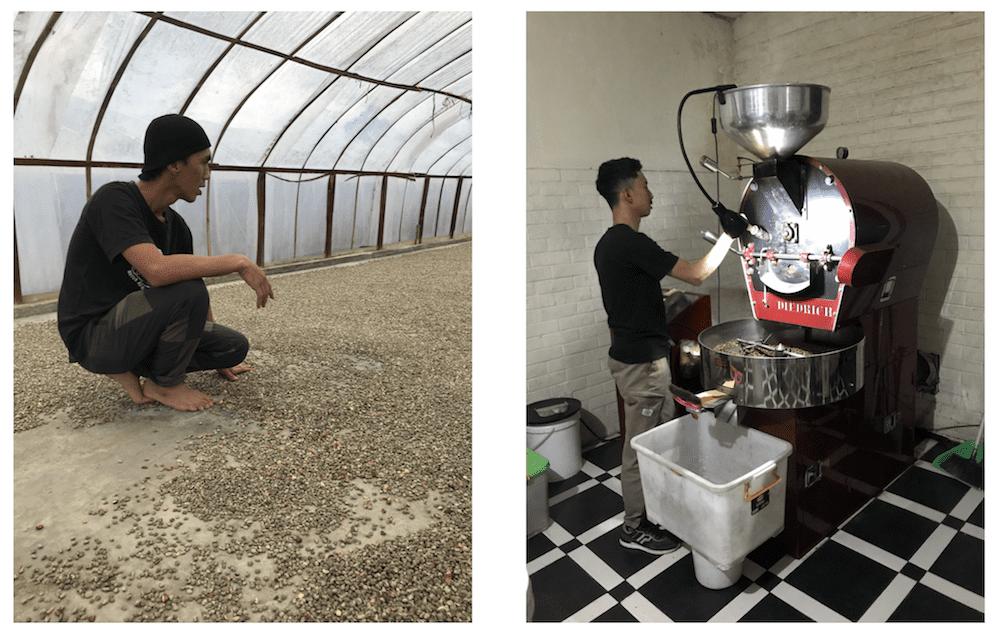 Pak Hendra drying station in Pegasing, Aceh and Kopiku Roastery in Bandung