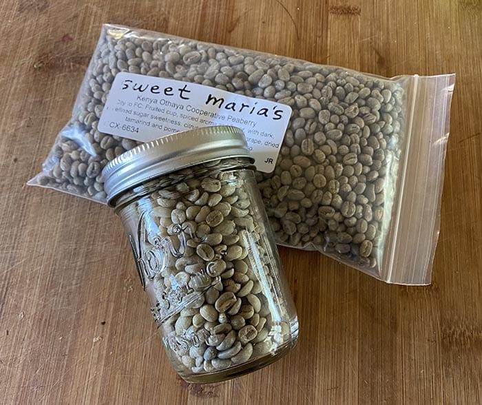 Green coffee bean storage in glass