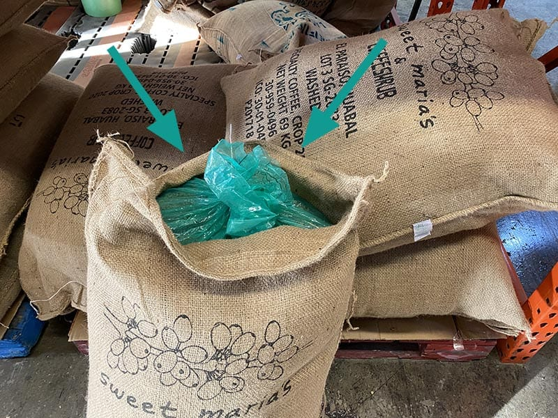 Sweet Maria's coffee jute bag with high barrier liner