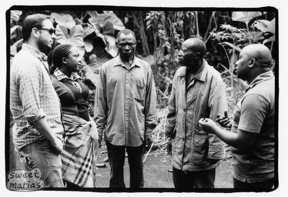 coffee farmers in congo and visitors