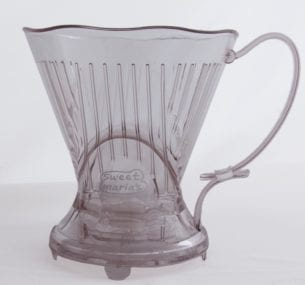 Cone without coffee. Cone takes a Melitta type #4 or #6 filter. The #4 filter is preferred size