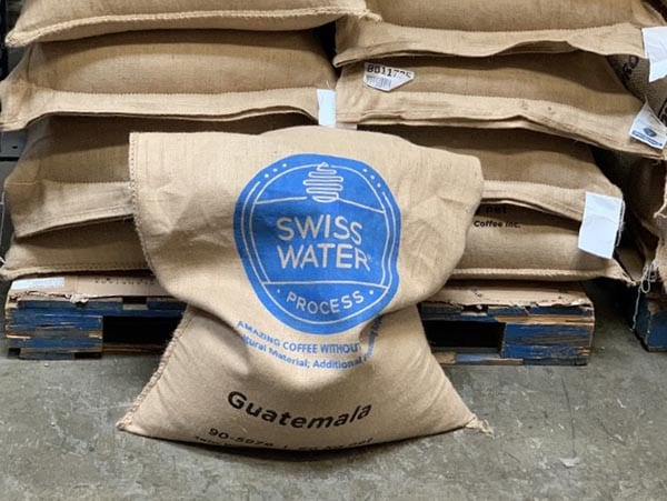 A grain pro lined jute bag from Swiss Water Process, this being a decaf we sent from Hunapu, Guatemala.