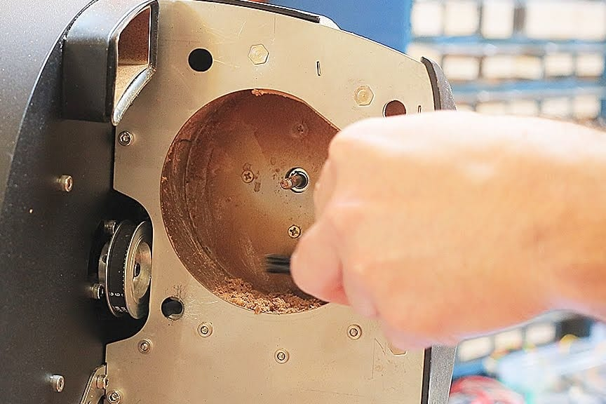 Cleaning rear impeller fan housing Aillio Bullet Coffee Roaster