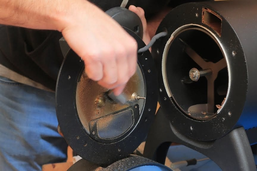 Cleaning inside of the front faceplate -Aillio Bullet Coffee Roaster