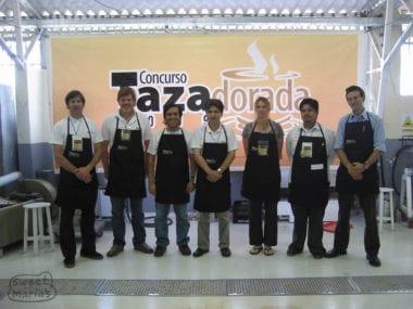 Judges of Taza Dorada coffee competition in Loja, Ecuador