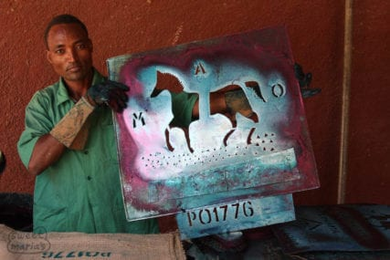 Printing the famous MAO Horse bag for Harar coffee, in Dire Dawa, Ethiopia Ethiopia Ethiopia