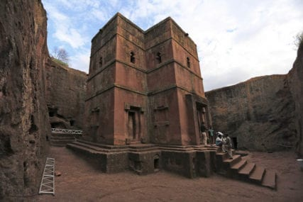Bet Giyorgis is said to the be the last church carved in the reign of King Lalibela. Carved in the shape of a cross, it stands as an isolated monolith, away from all the other churches
