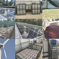 photos of a coffee mill in el salvador that is powered by renewable solar and wind energy