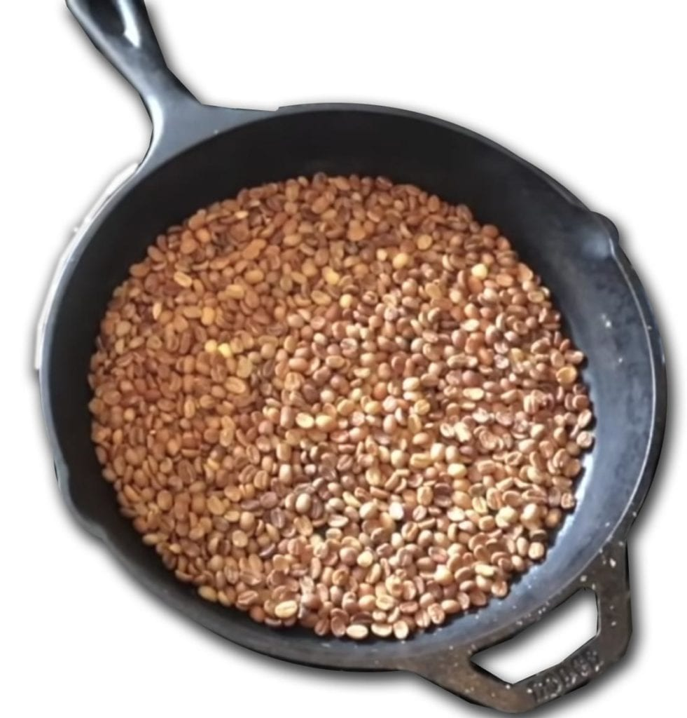 coffee roasting cast iron pan stovetop