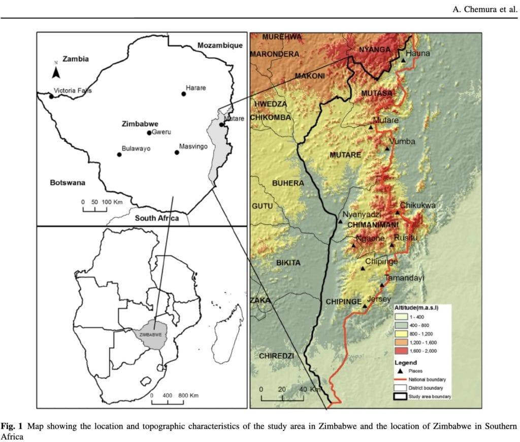 Zimbabwe Coffee Suitability map
