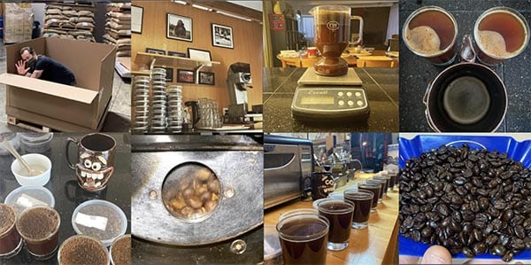 An array of images from our Coffee Shrub Instagram account showing coffee roasting, sample testing, and coffee travel.