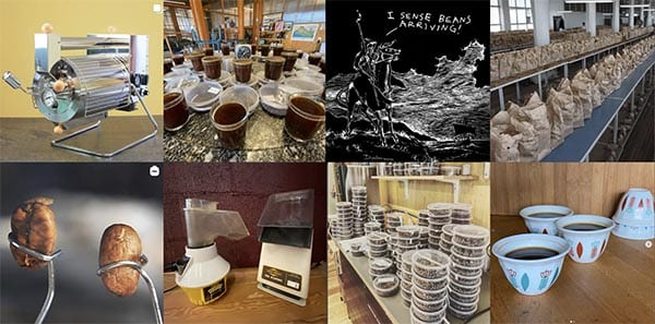 A collage of images from Sweet Maria's Instagram account of sample roasting, cup testing and a whole lot more.
