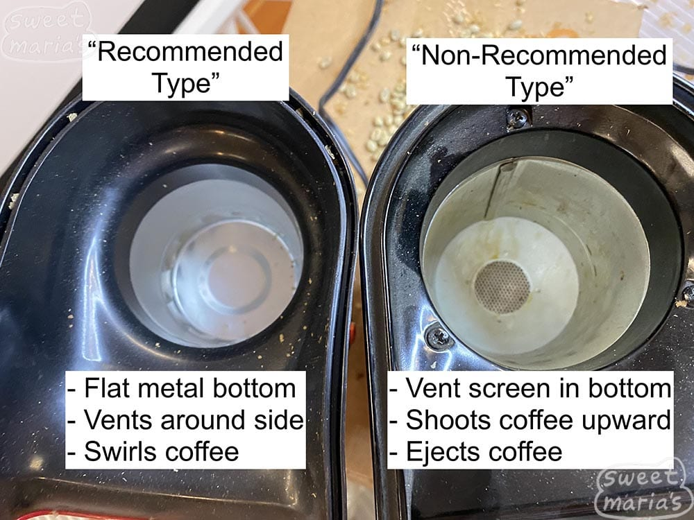 The 2 different types of air poppers, showing the recommended type that swirls coffee, and the so called non-recommended type. But add a glass chimney