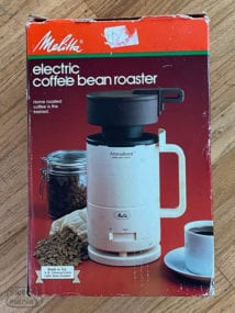 Original banged up box Melitta AromaRoast Coffee Roaster from 1984