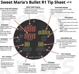 Aillio Bullet Tip Sheet - Roast Panel Control Functions and Roast Time
