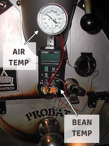 Probat coffee roaster thermometer bean probe