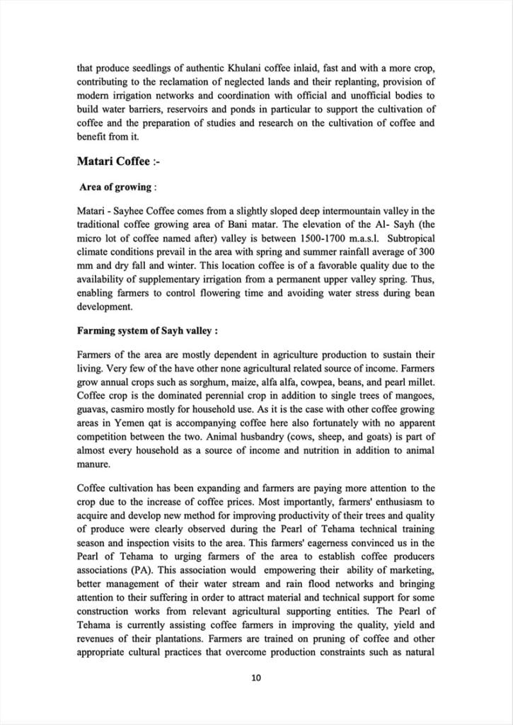 Page 10 of a document about the Yemeni green coffee sector