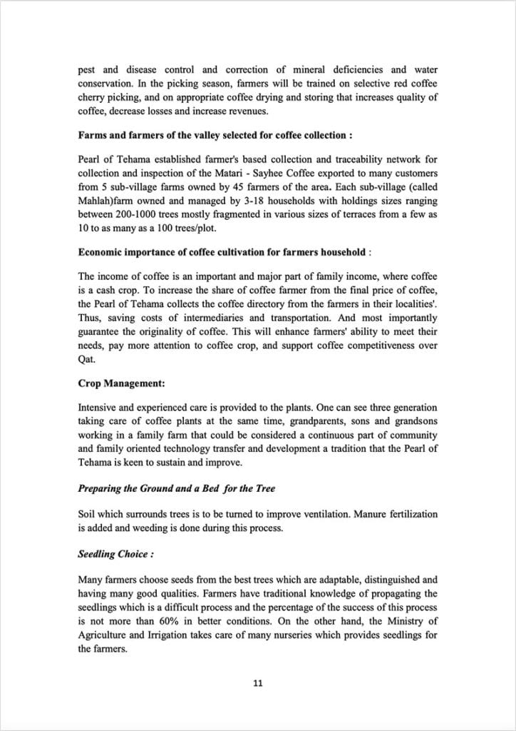 Page 11 of a document about the Yemeni green coffee sector