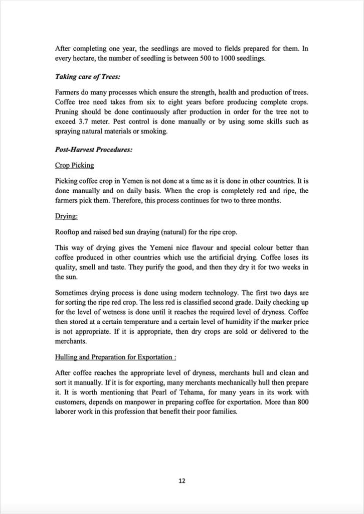 Page 12 of a document about the Yemeni green coffee sector