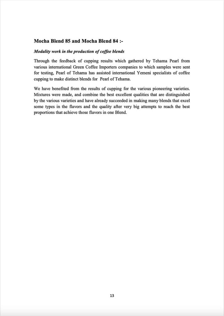 Page 13 of a document about the Yemeni green coffee sector