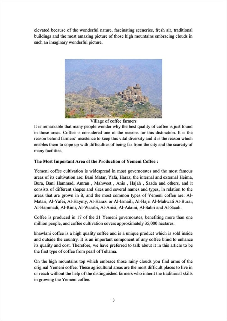 Page 3 of a document about the Yemeni green coffee sector