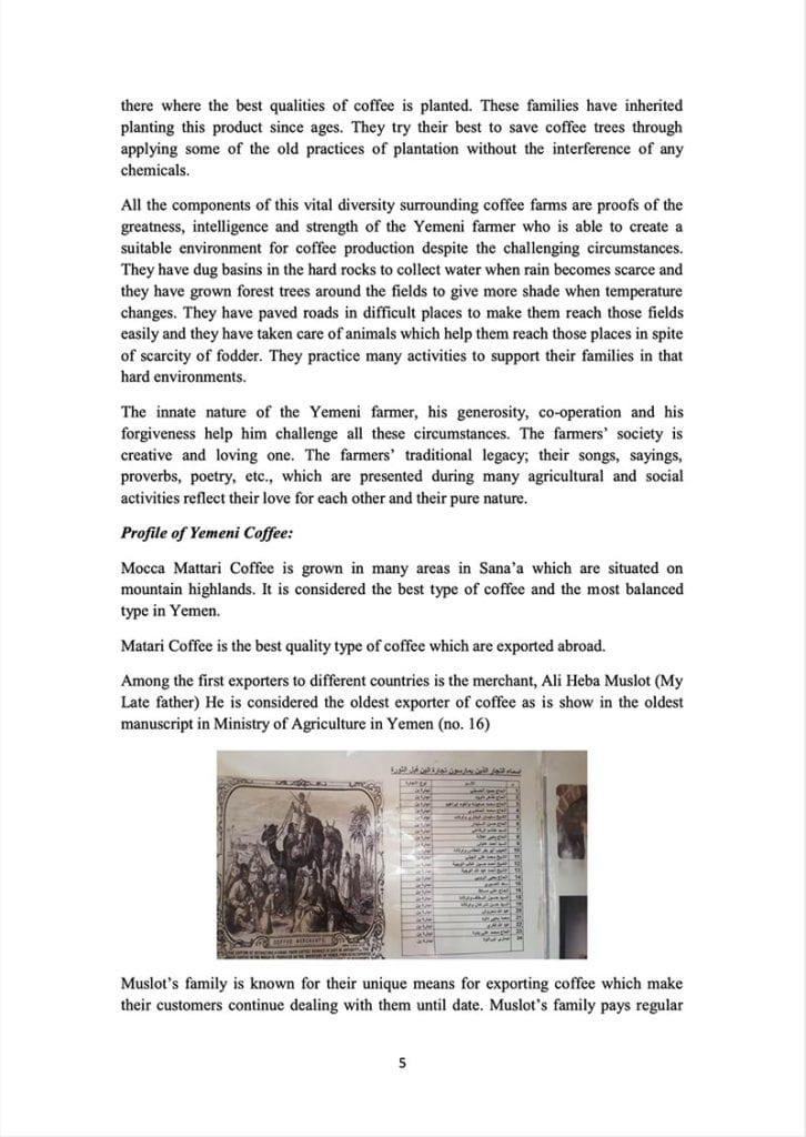 Page 5 of a document about the Yemeni green coffee sector