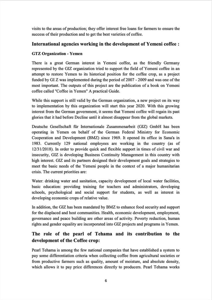 Page 6 of a document about the Yemeni green coffee sector