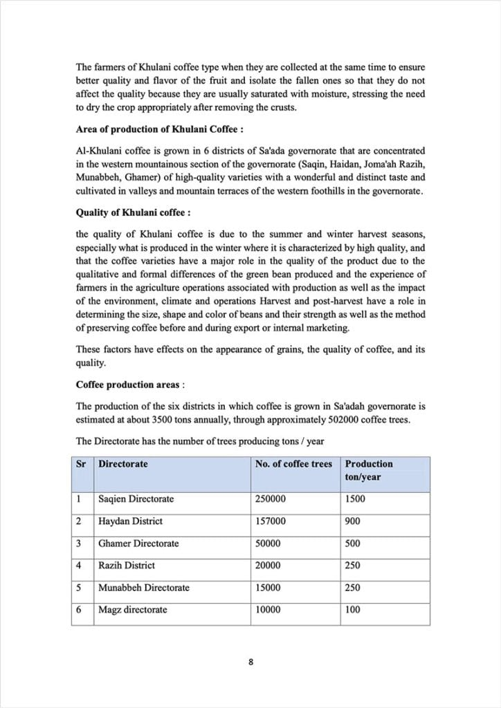 Page 8 of a document about the Yemeni green coffee sector