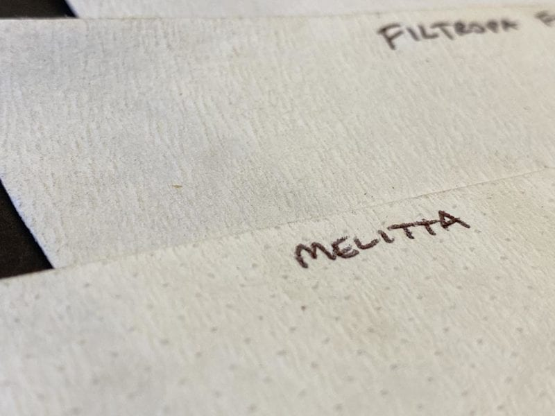 Melitta coffee filter has a dimpled pattern, unique to the others. Here Melitta versus Filtropa