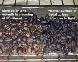Closeup on Roasting Decaf Coffee